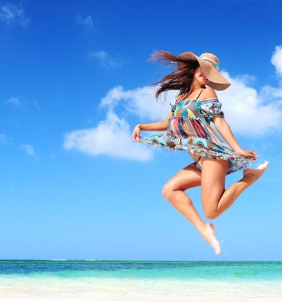 Jumping at beach
